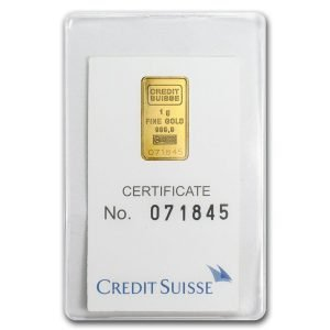 1 gram Credit Suisse Gold bar