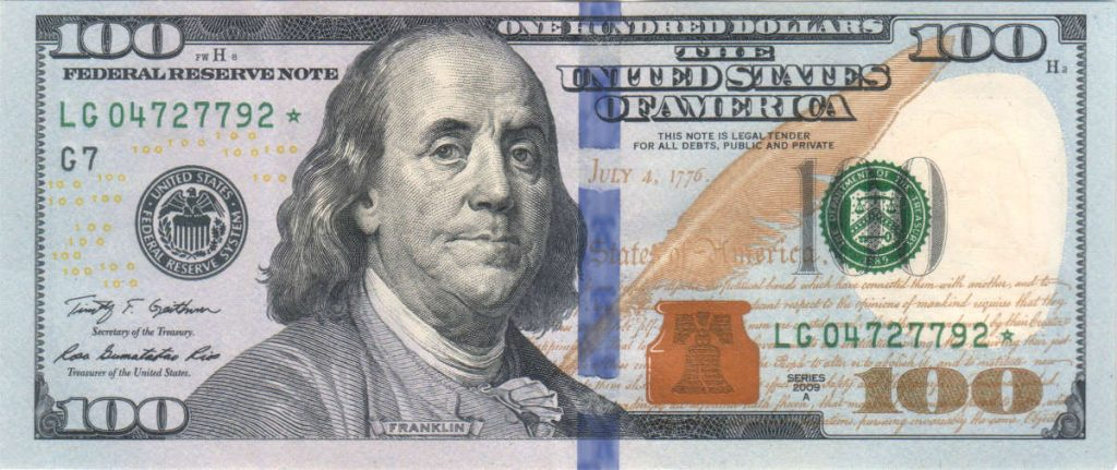 US $100 Dollar Bill