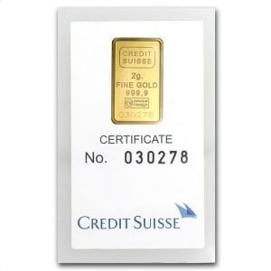 2 gram credit suisse gold bar
