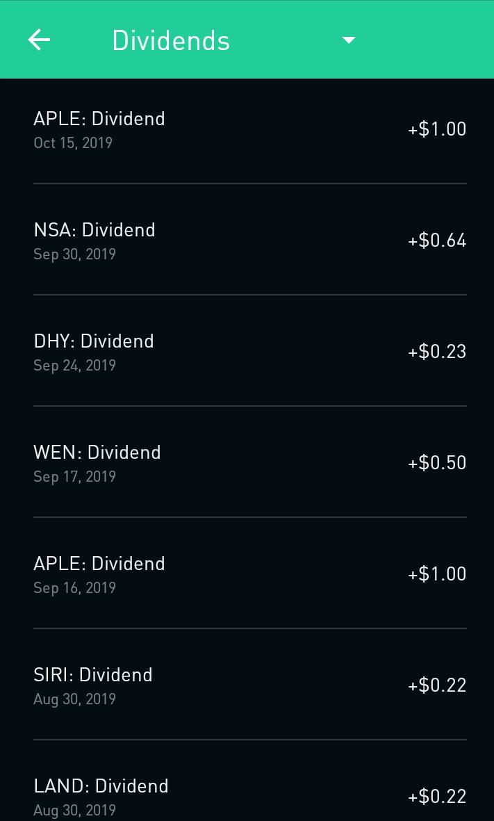 Robinhood dividend payments