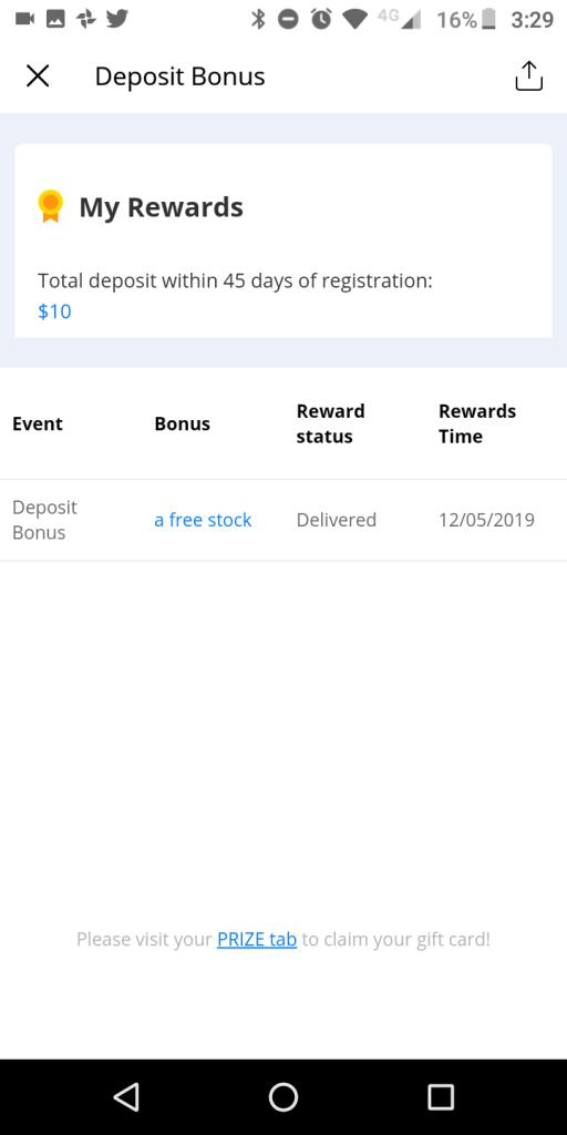 Webull Deposit Bonus Confirmation