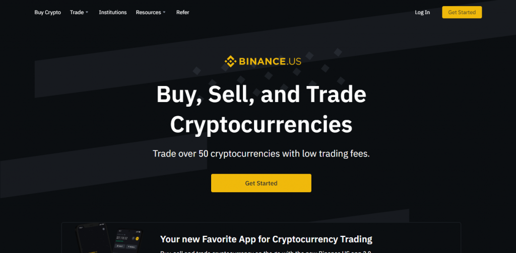 Binance.US homepage