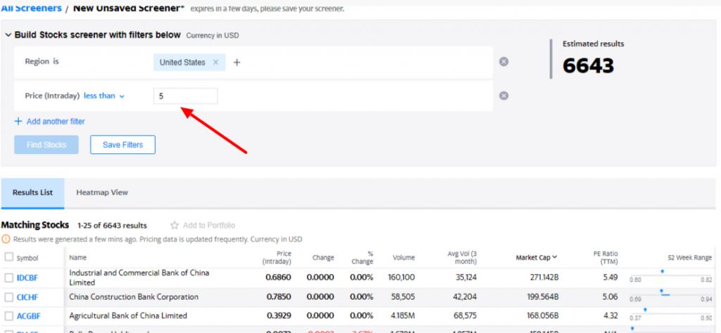 Yahoo Finance Penny Stock Screener